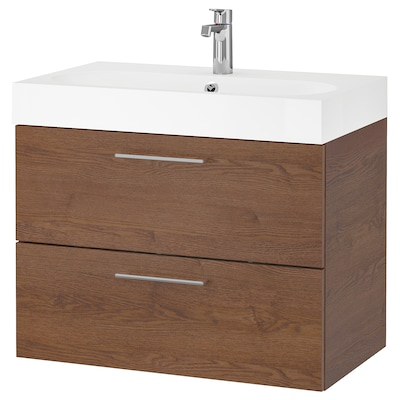 GODMORGON / BRÅVIKEN wash-stand with 2 drawers brown stained ash effect/Brogrund tap 80 cm 60 cm 48 cm 68 cm