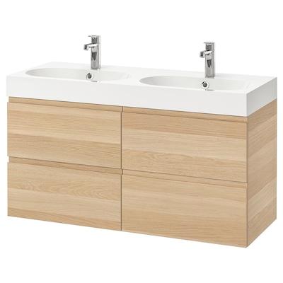 GODMORGON / BRÅVIKEN Wash-stand with 4 drawers, white stained oak effect/Brogrund tap, 120x48x68 cm