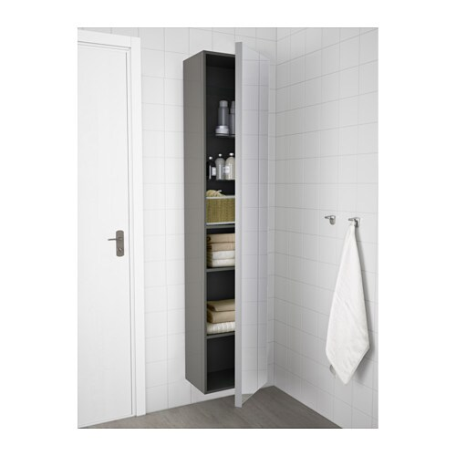 GODMORGON High cabinet with mirror door - high-gloss grey - IKEA
