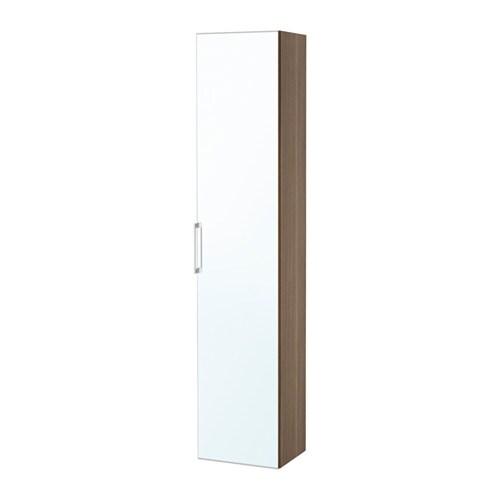 godmorgon high cabinet with mirror door - walnut effect