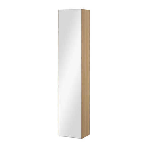 godmorgon high cabinet with mirror door white stained oak effect ikea. Black Bedroom Furniture Sets. Home Design Ideas