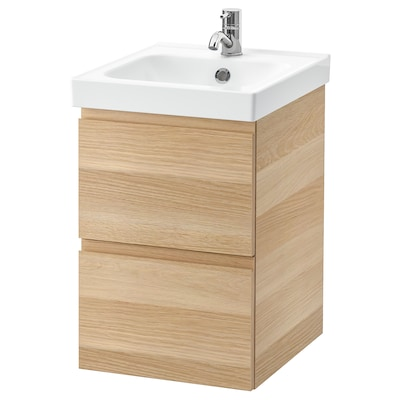 GODMORGON / ODENSVIK wash-stand with 2 drawers white stained oak effect/Pilkån tap 43 cm 40 cm 49 cm 64 cm