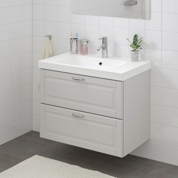 GODMORGON / ODENSVIK wash-stand with 2 drawers Kasjön light grey/Hamnskär tap 83 cm 80 cm 49 cm 64 cm