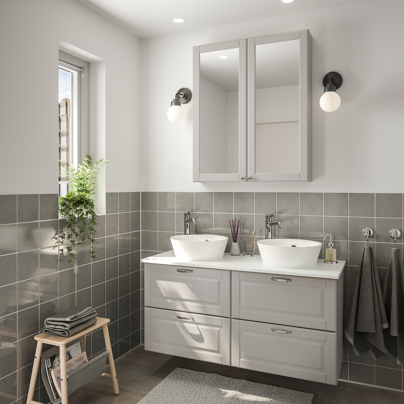 Godmorgon Tolken Kattevik Bathroom Furniture Set Of 7 Kasjon Light Grey Marble Effect Voxnan Tap Ikea