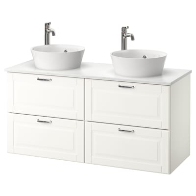 GODMORGON/TOLKEN / KATTEVIK Wsh-stnd w countertop 40 wash-basin, Kasjön white/marble effect Voxnan tap, 122x49x75 cm