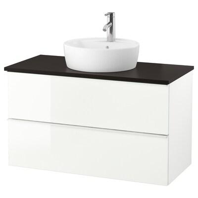 GODMORGON/TOLKEN / TÖRNVIKEN Wsh-stnd w countertop 45 wsh-basin, high-gloss white/anthracite Dalskär tap, 102x49x74 cm