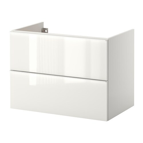 Godmorgon wash stand with 2 drawers high gloss white for Ikea godmorgon meuble mural