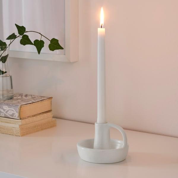 GODTAGBAR Candlestick, ceramic white, 8 cm