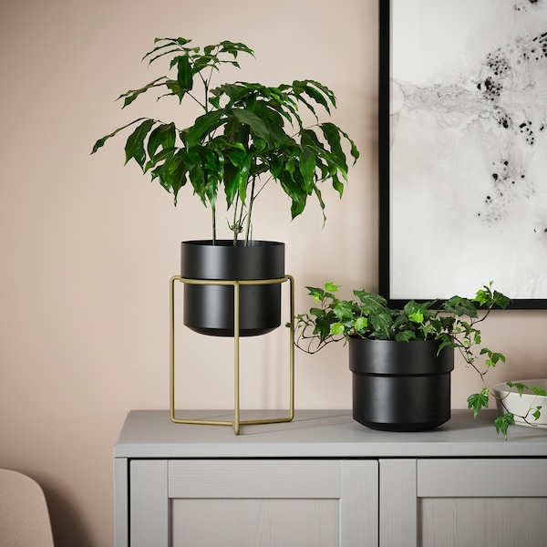 GOJIBÄR Plant pot with stand, in/outdoor black/brass-colour, 15 cm