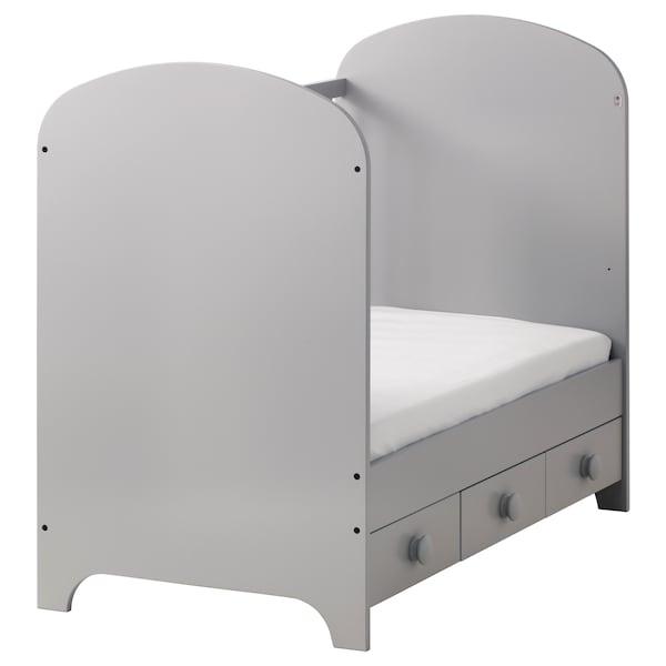 GONATT Cot, light grey, 70x132 cm