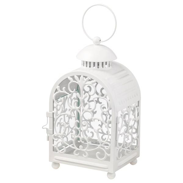 GOTTGÖRA Lantern for candle in metal cup, in/outdoor white, 26 cm