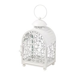 GOTTGÖRA lantern for candle in metal cup, in/outdoor white