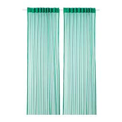 GRÅTISTEL net curtains, 1 pair, green