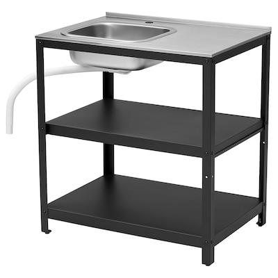 GRILLSKÄR Sink unit, black/stainless steel outdoor, 86x61 cm