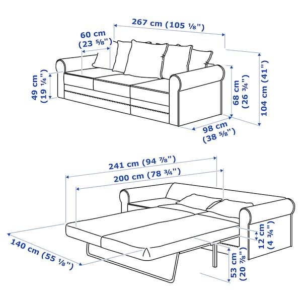 GRÖNLID 3-seat sofa-bed Ljungen dark red 53 cm 104 cm 68 cm 267 cm 98 cm 60 cm 49 cm 140 cm 200 cm 12 cm
