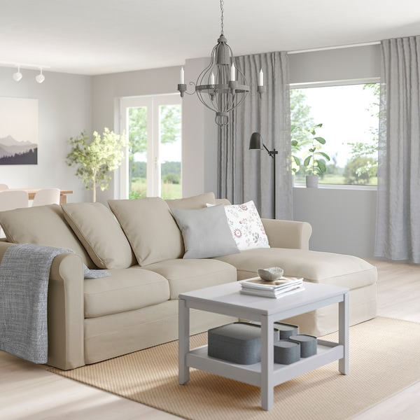 GRÖNLID 3-seat sofa with chaise longue/Sporda natural 104 cm 164 cm 258 cm 98 cm 126 cm 7 cm 18 cm 68 cm 222 cm 60 cm 49 cm