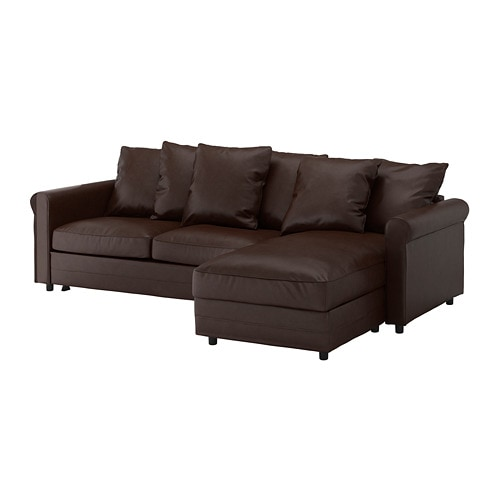 GRÖNLID 3-seat sofa-bed, with chaise longue, Kimstad dark brown