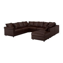 GRÖNLID u-shaped sofa, 6 seat, with open end, Kimstad dark brown