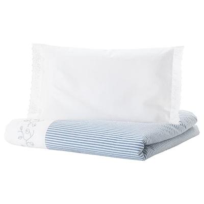 GULSPARV Duvet cover 1 pillowcase for cot, striped/blue, 110x125/35x55 cm