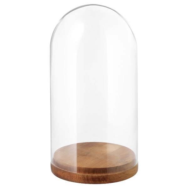 HÄRLIGA glass dome with base clear glass 27 cm 14 cm