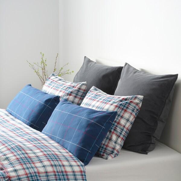 HÄSSLEBRODD cushion blue/multicolour check 40 cm 65 cm 400 g 610 g