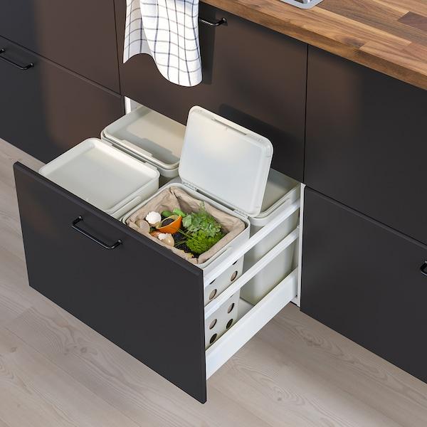 HÅLLBAR Bin with lid for organic waste, light grey, 10 l