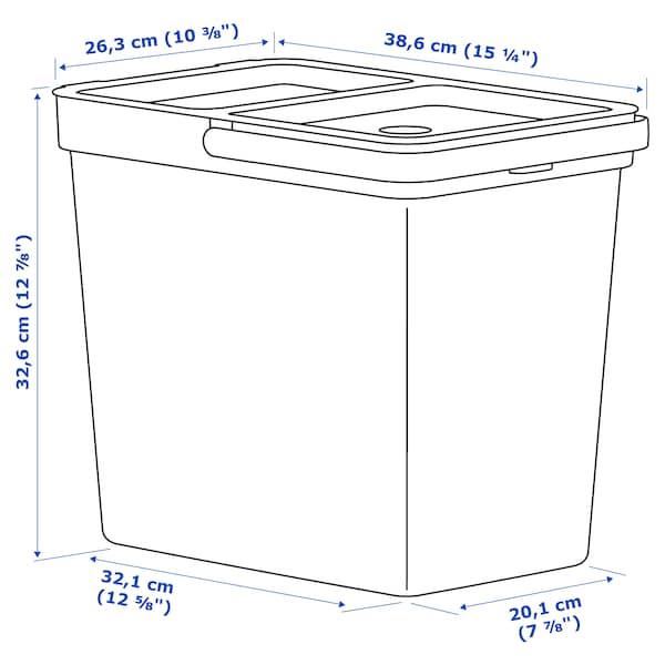 HÅLLBAR Bin with lid, light grey, 22 l