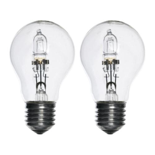 HALOGEN Bulb E27 IKEA Halogen consumes 30% less energy than incandescent bulbs.  Dimmable, from general light to mood light.
