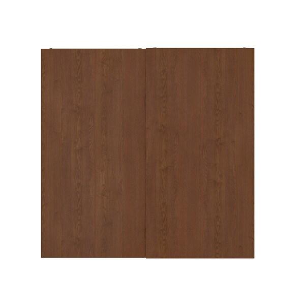 HASVIK Pair of sliding doors, brown stained ash effect, 200x201 cm