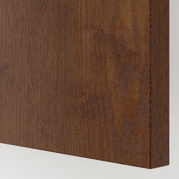 HASVIK Pair of sliding doors, brown stained ash effect, 150x201 cm