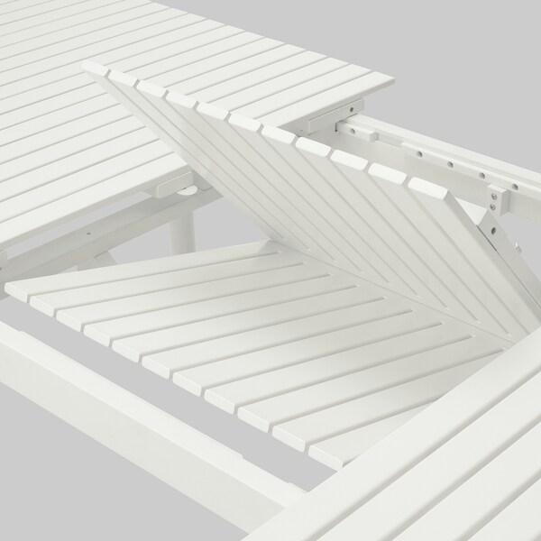 HATTHOLMEN Extendable table, outdoor, eucalyptus/white, 159/211x91 cm