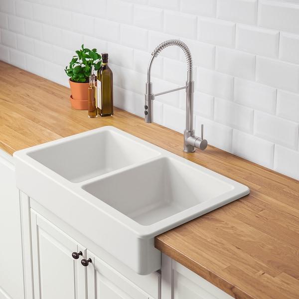HAVSEN Sink bowl, 2 bowls w visible front, white, 82x48 cm