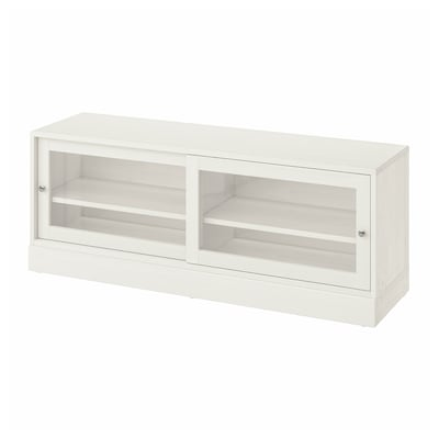 HAVSTA TV bench with plinth, white, 160x47x62 cm