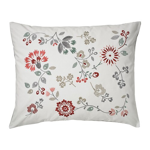 HEDBLOMSTER Cushion IKEA Embroidery adds texture and lustre to the cushion.  You can easily vary the look because the two sides have different designs.
