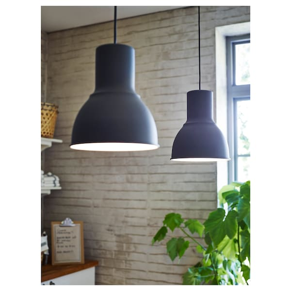 HEKTAR Pendant lamp, dark grey, 22 cm