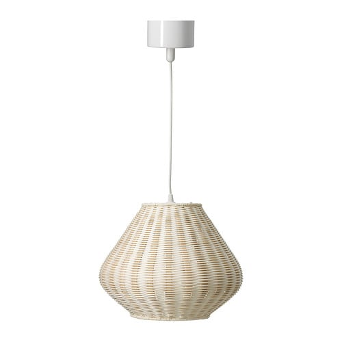 HELG Pendant lamp IKEA This lamp gives a pleasant light for dining.   It spreads a good directed light across your dining or bar table.