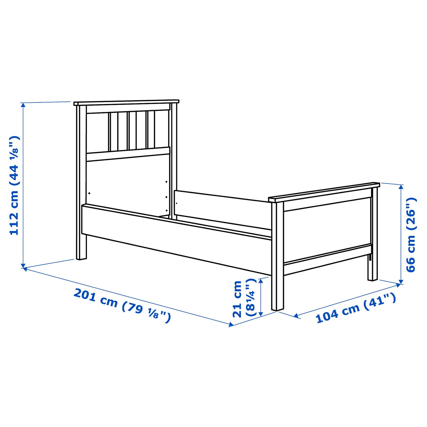 HEMNES Bed frame - black-brown/Lönset Single