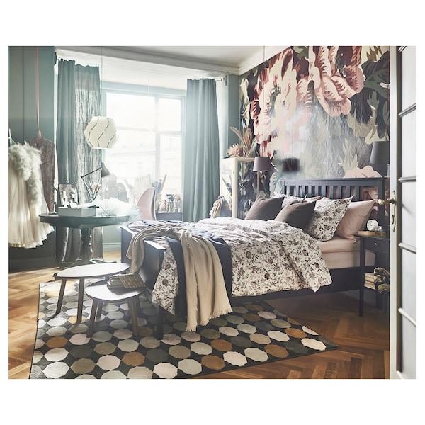 HEMNES Bed frame, black-brown/Lönset, Queen