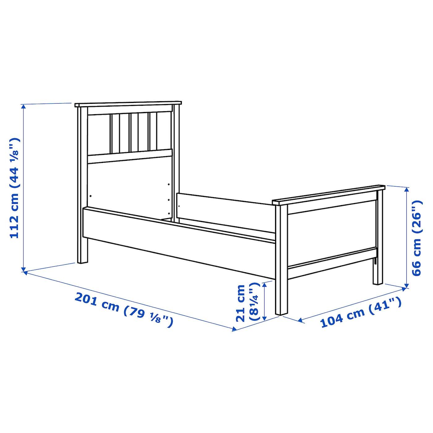 HEMNES Bed frame - black-brown/Luröy Single