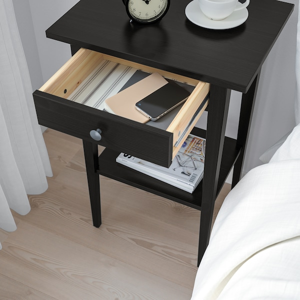 HEMNES Bedside table, black-brown, 46x35 cm