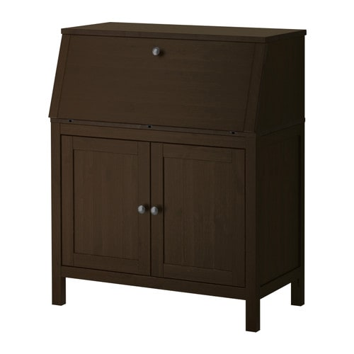Hemnes bureau black brown ikea for Bureau hemnes