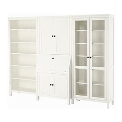 HEMNES bureau with add-on-unit+bookcase, white stained, glass