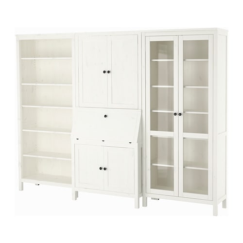Hemnes Bureau With Add On Unit Bookcase White Stained Glass Ikea
