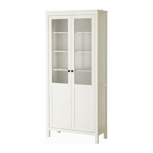 HEMNES Cabinet with panel/glass-door IKEA Solid wood has a natural feel.  The shelves are adjustable so you can customise your storage as needed.