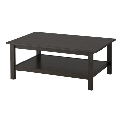 HEMNES Coffee table IKEA Solid wood; gives a natural feel.  Separate shelf for storing magazines, etc.