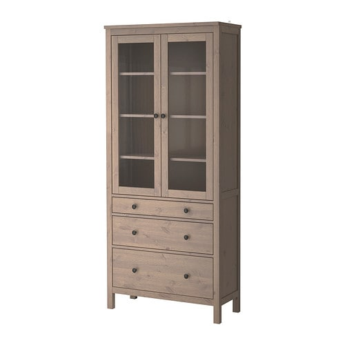 HEMNES Glass-door cabinet with 3 drawers IKEA Solid wood has a natural ...