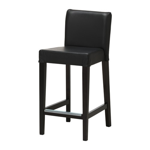 HENRIKSDAL Bar stool with backrest IKEA Soft, hardwearing and easy care leather, which ages gracefully.  Padded seat for enhanced seating comfort.
