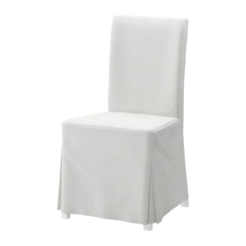 HENRIKSDAL Chair with long cover IKEA You sit comfortably thanks to the high back and seat with polyester wadding.