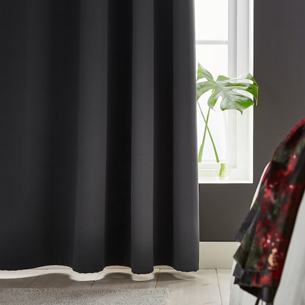 HILLEBORG block-out curtains, 1 pair grey 250 cm 145 cm 1.96 kg 3.63 m² 2 pack