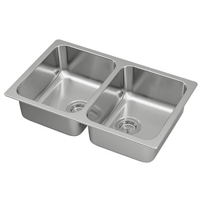 HILLESJÖN Inset sink, 2 bowls, stainless steel, 75x46 cm